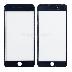 (Super High Quality)Cold Press 2in1 Front Outer Screen Glass Lens with Frame Bezel For iPhone - Black/White