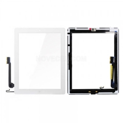 A Touch Screen Digitizer with Home Button for iPad 4 - White