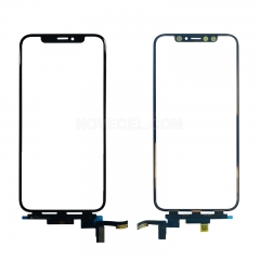 Front Glassl with Touch Flex Cable for iPhone X XS XS max /Short Flex (Black)